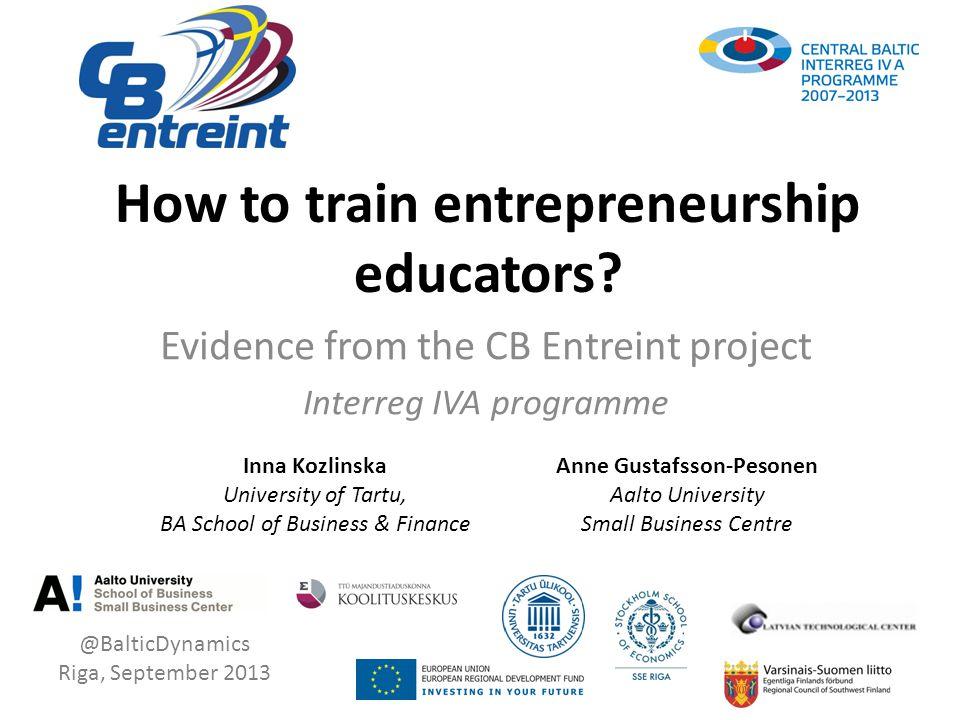 How to train entrepreneurship educators.