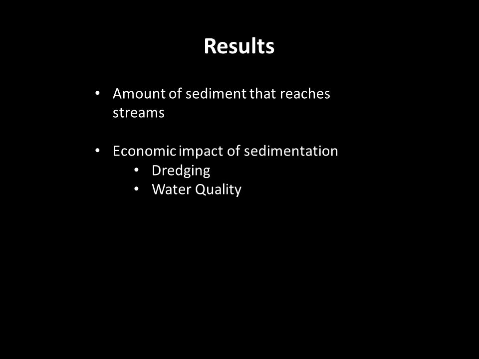 Results Amount of sediment that reaches streams Economic impact of sedimentation Dredging Water Quality