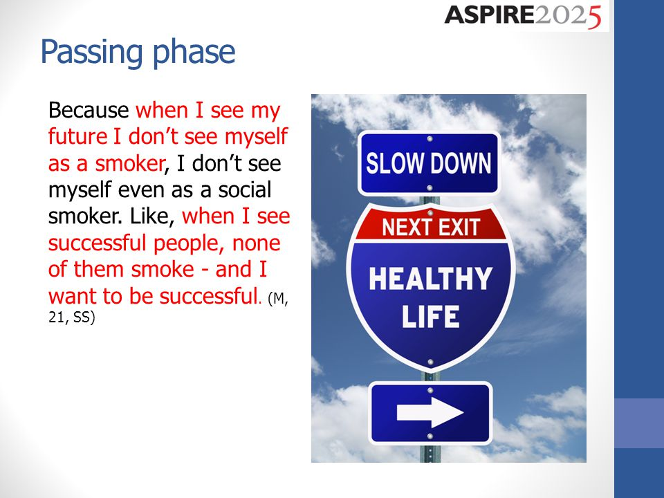 Passing phase Because when I see my future I don't see myself as a smoker, I don't see myself even as a social smoker.