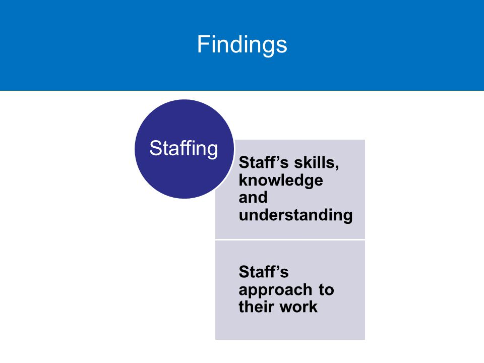 Findings Staff's skills, knowledge and understanding Staff's approach to their work Staffing Findings