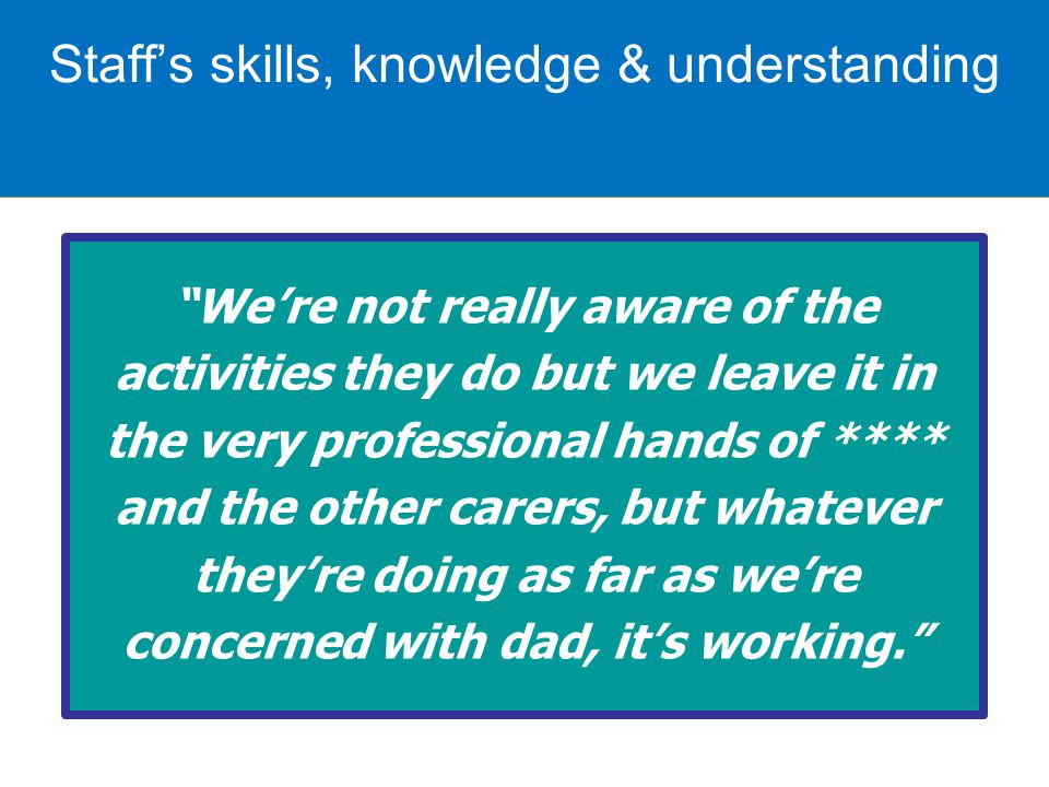 We're not really aware of the activities they do but we leave it in the very professional hands of **** and the other carers, but whatever they're doing as far as we're concerned with dad, it's working. Staff's skills, knowledge & understanding