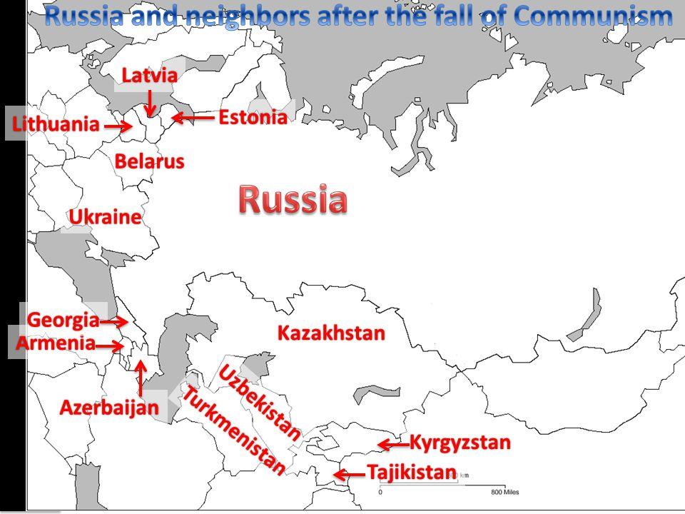 Kazakhstan Kyrgyzstan Tajikistan Uzbekistan Turkmenistan Armenia Azerbaijan Georgia Ukraine Belarus Lithuania Latvia Estonia