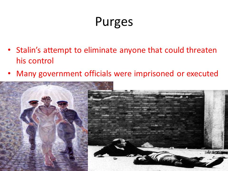 Purges Stalin's attempt to eliminate anyone that could threaten his control Many government officials were imprisoned or executed