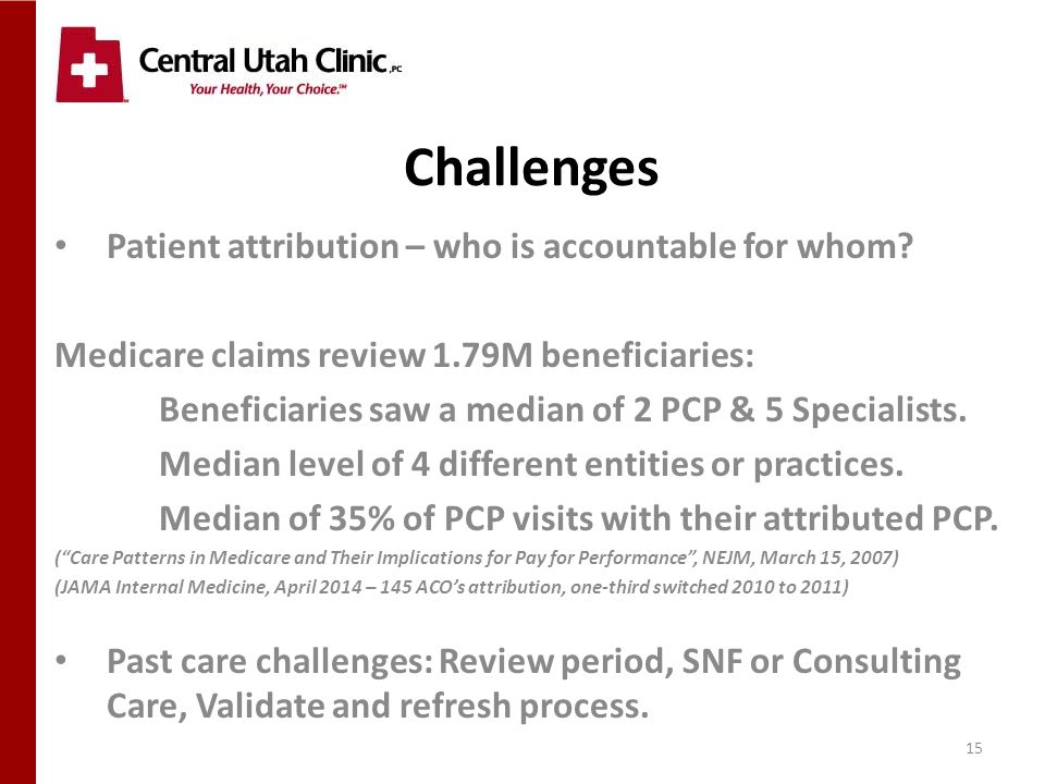 15 Challenges Patient attribution – who is accountable for whom.