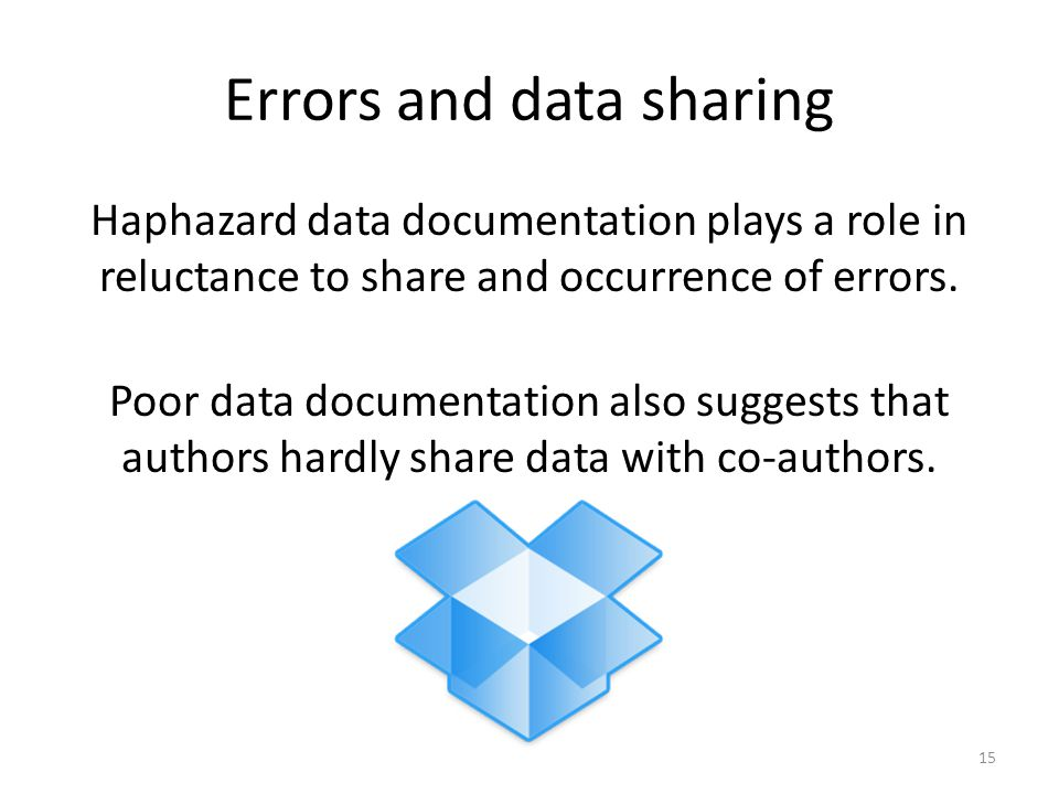 Errors and data sharing Haphazard data documentation plays a role in reluctance to share and occurrence of errors. Poor data documentation also sugges