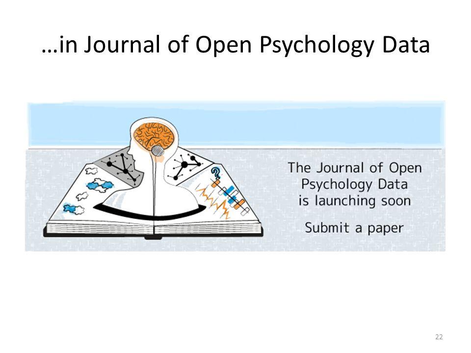 …in Journal of Open Psychology Data 22