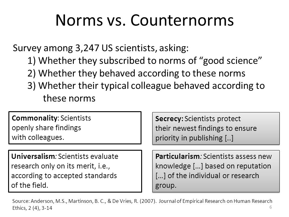 Commonality: Scientists openly share findings with colleagues. Secrecy: Scientists protect their newest findings to ensure priority in publishing [..]