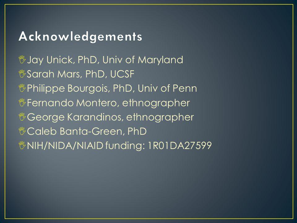 IJay Unick, PhD, Univ of Maryland ISarah Mars, PhD, UCSF IPhilippe Bourgois, PhD, Univ of Penn IFernando Montero, ethnographer IGeorge Karandinos, ethnographer ICaleb Banta-Green, PhD INIH/NIDA/NIAID funding: 1R01DA27599