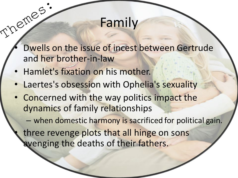 Family Dwells on the issue of incest between Gertrude and her brother-in-law Hamlet's fixation on his mother. Laertes's obsession with Ophelia's sexua