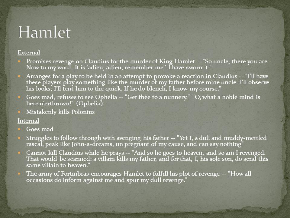 External Promises revenge on Claudius for the murder of King Hamlet --