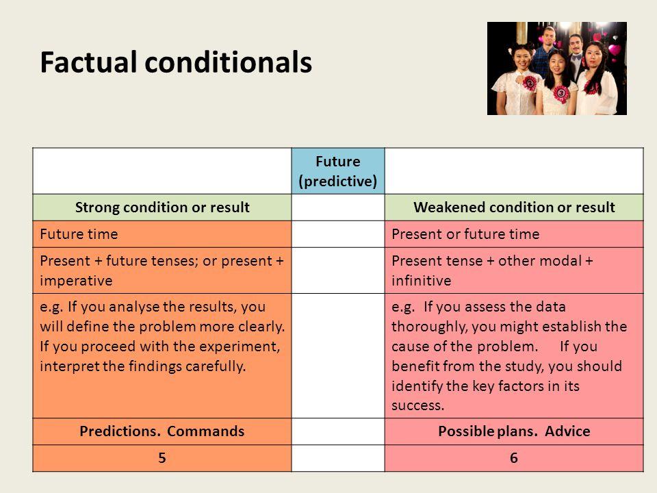 Factual conditionals Future (predictive) Strong condition or resultWeakened condition or result Future timePresent or future time Present + future tenses; or present + imperative Present tense + other modal + infinitive e.g.
