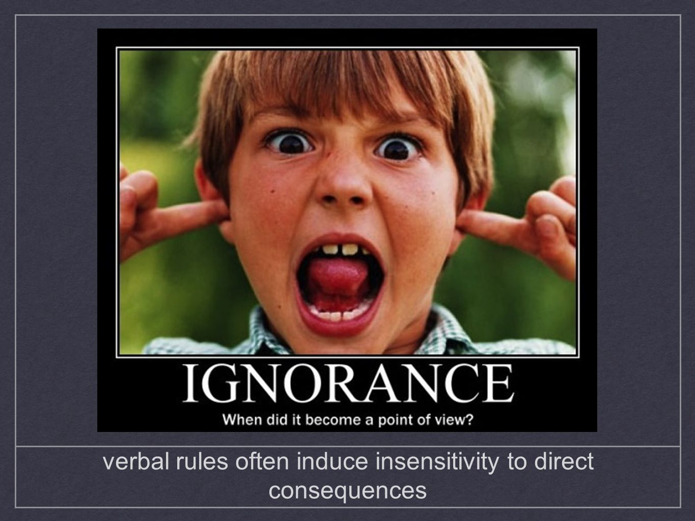 verbal rules often induce insensitivity to direct consequences