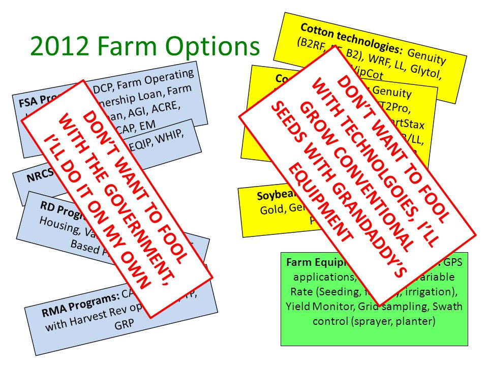 2012 Farm Options Cotton technologies: Genuity (B2RF, RF, B2), WRF, LL, Glytol, VipCot Soybean Technologies: Vistive Gold, Genuity RR2Y, Omega 3, Plenish, LL Corn Technologies: Genuity (VT3Pro, SmartStax, VT2Pro, RRCorn2, DroughtGard, SmartStax RIB Complete), Agrisure (GT, CB/LL, GT/CB/LL, 3000GT) Herculex (RR2, RW, Xtra) FSA Programs: DCP, Farm Operating Loan, Farm Ownership Loan, Farm Equipment Loan, AGI, ACRE, Biomass CAP, EM NRCS Programs: CSP, EQIP, WHIP, MBHI RD Programs: REAP, Farm Labor Housing, Value Added, Energy Based Programs RMA Programs: CAT, GRIP, GRIP with Harvest Rev option, RP, YP, GRP Farm Equipment Technologies: GPS applications, AutoSteer, Variable Rate (Seeding, fertility, irrigation), Yield Monitor, Grid sampling, Swath control (sprayer, planter) DON'T WANT TO FOOL WITH THE GOVERNMENT, I'LL DO IT ON MY OWN DON'T WANT TO FOOL WITH TECHNOLGOIES, I'LL GROW CONVENTIONAL SEEDS WITH GRANDADDY'S EQUIPMENT