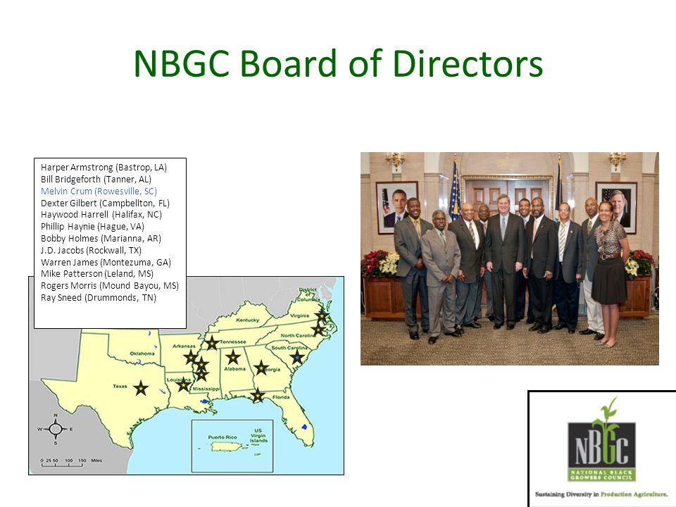 NBGC Board of Directors Harper Armstrong (Bastrop, LA) Bill Bridgeforth (Tanner, AL) Melvin Crum (Rowesville, SC) Dexter Gilbert (Campbellton, FL) Haywood Harrell (Halifax, NC) Phillip Haynie (Hague, VA) Bobby Holmes (Marianna, AR) J.D.