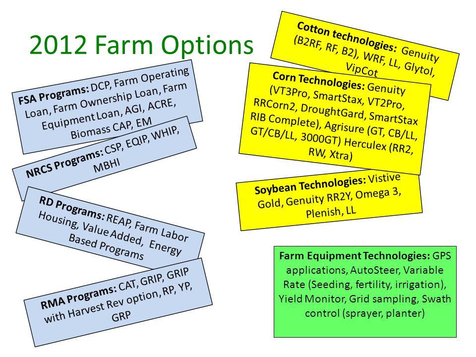 2012 Farm Options Cotton technologies: Genuity (B2RF, RF, B2), WRF, LL, Glytol, VipCot Soybean Technologies: Vistive Gold, Genuity RR2Y, Omega 3, Plenish, LL Corn Technologies: Genuity (VT3Pro, SmartStax, VT2Pro, RRCorn2, DroughtGard, SmartStax RIB Complete), Agrisure (GT, CB/LL, GT/CB/LL, 3000GT) Herculex (RR2, RW, Xtra) FSA Programs: DCP, Farm Operating Loan, Farm Ownership Loan, Farm Equipment Loan, AGI, ACRE, Biomass CAP, EM NRCS Programs: CSP, EQIP, WHIP, MBHI RD Programs: REAP, Farm Labor Housing, Value Added, Energy Based Programs RMA Programs: CAT, GRIP, GRIP with Harvest Rev option, RP, YP, GRP Farm Equipment Technologies: GPS applications, AutoSteer, Variable Rate (Seeding, fertility, irrigation), Yield Monitor, Grid sampling, Swath control (sprayer, planter)