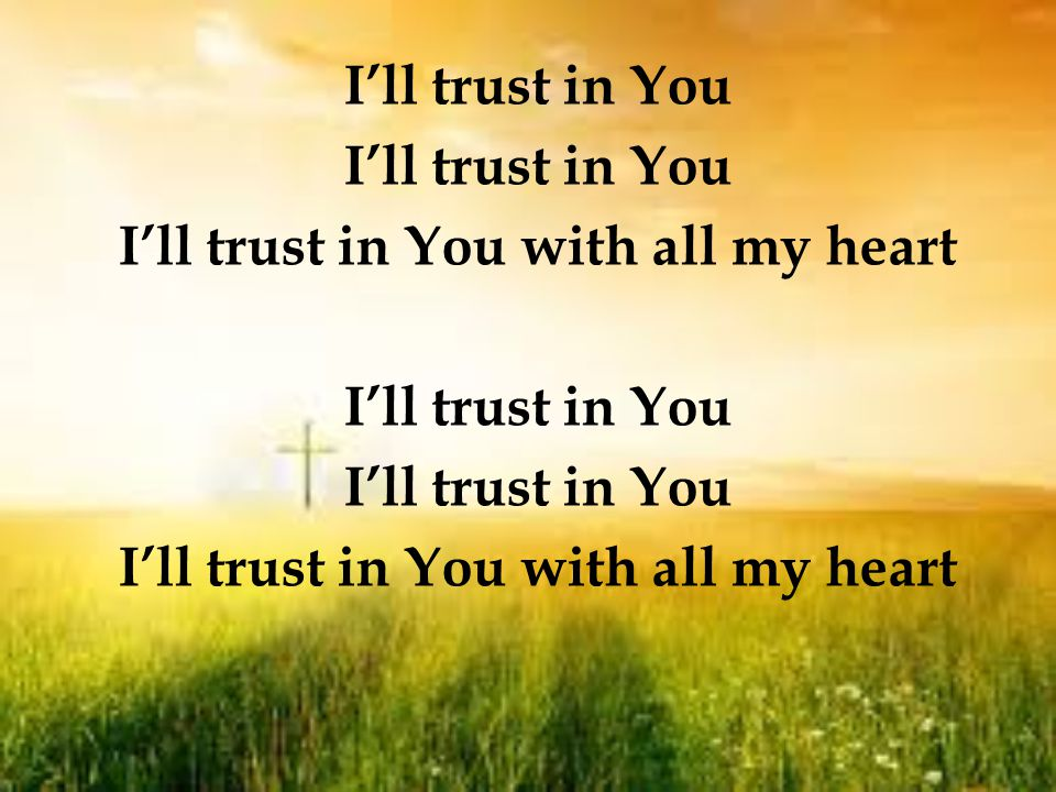 I'll trust in You I'll trust in You with all my heart I'll trust in You I'll trust in You with all my heart