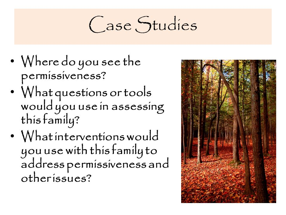 Case Studies Where do you see the permissiveness.