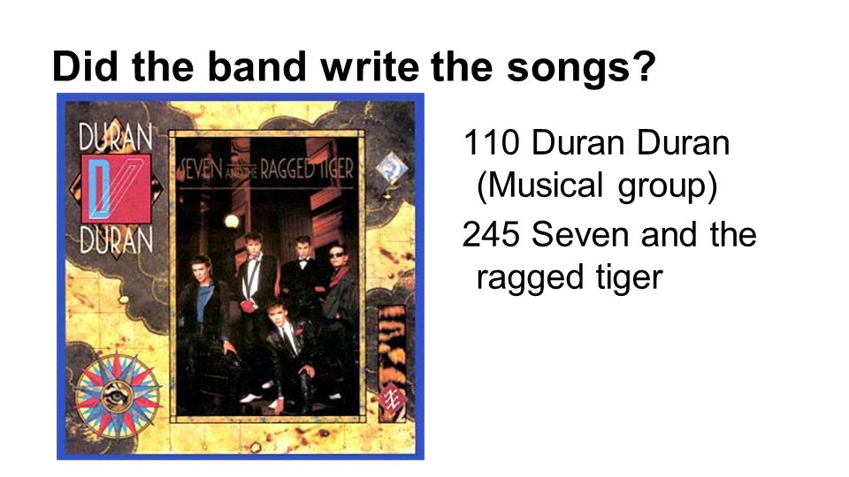 Did the band write the songs 110 Duran Duran (Musical group) 245 Seven and the ragged tiger