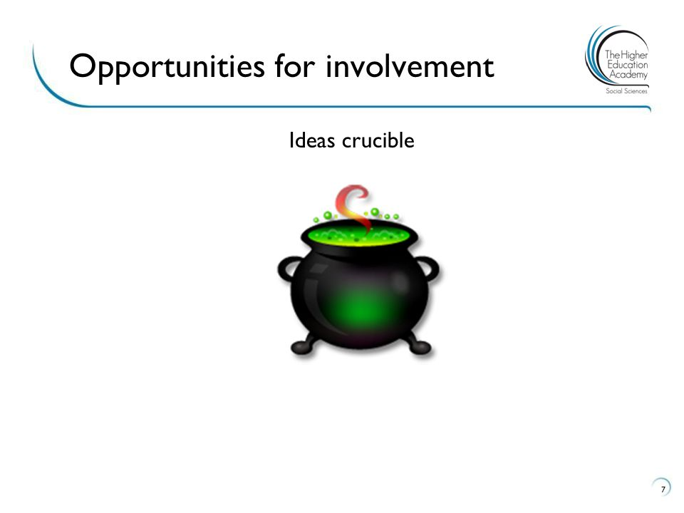 Ideas crucible 7 Opportunities for involvement