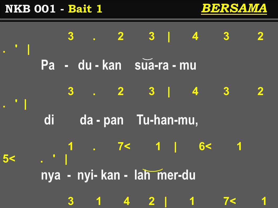 3. 2 3 | 4 3 2. ' | Pa - du - kan sua-ra - mu 3. 2 3 | 4 3 2. ' | di da - pan Tu-han-mu, 1. 7< 1 | 6< 1 5<. ' | nya - nyi- kan - lah mer-du 3 1 4 2 |