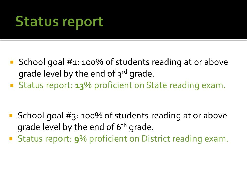  School goal #1: 100% of students reading at or above grade level by the end of 3 rd grade.