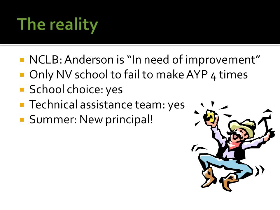  NCLB: Anderson is In need of improvement  Only NV school to fail to make AYP 4 times  School choice: yes  Technical assistance team: yes  Summer: New principal!