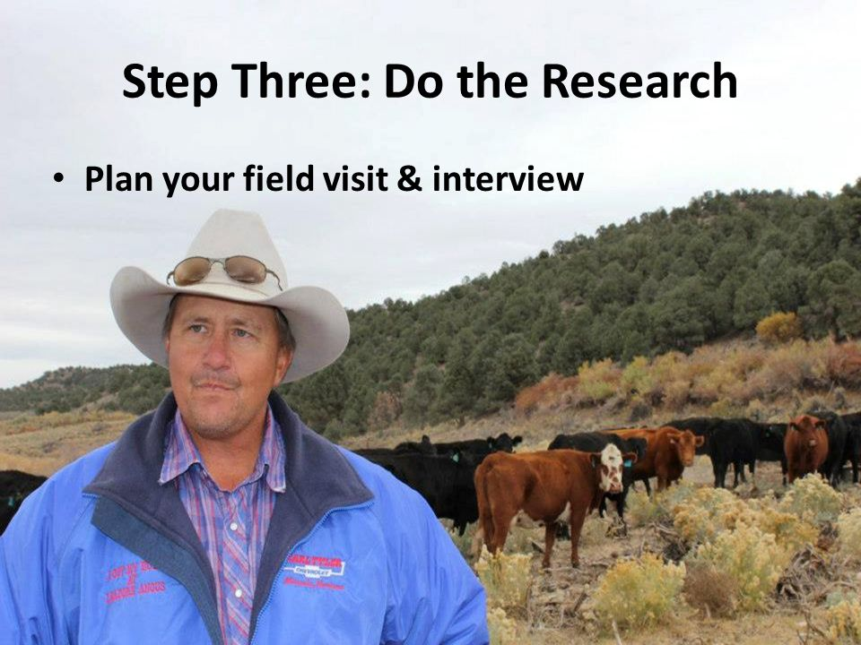 Step Three: Do the Research Plan your field visit & interview