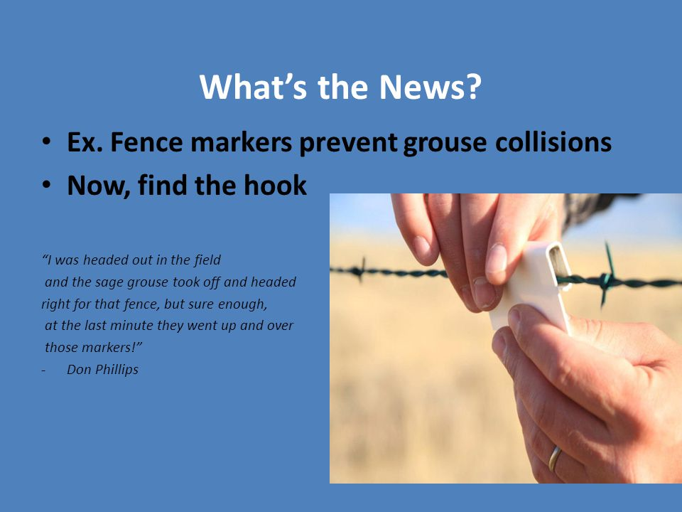 "What's the News? Ex. Fence markers prevent grouse collisions Now, find the hook ""I was headed out in the field and the sage grouse took off and headed"