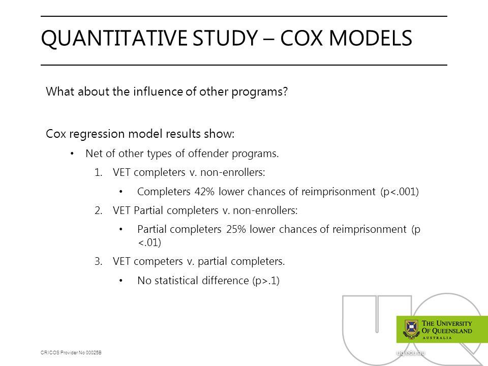 CRICOS Provider No 00025B uq.edu.au QUANTITATIVE STUDY – COX MODELS What about the influence of other programs? Cox regression model results show: Net