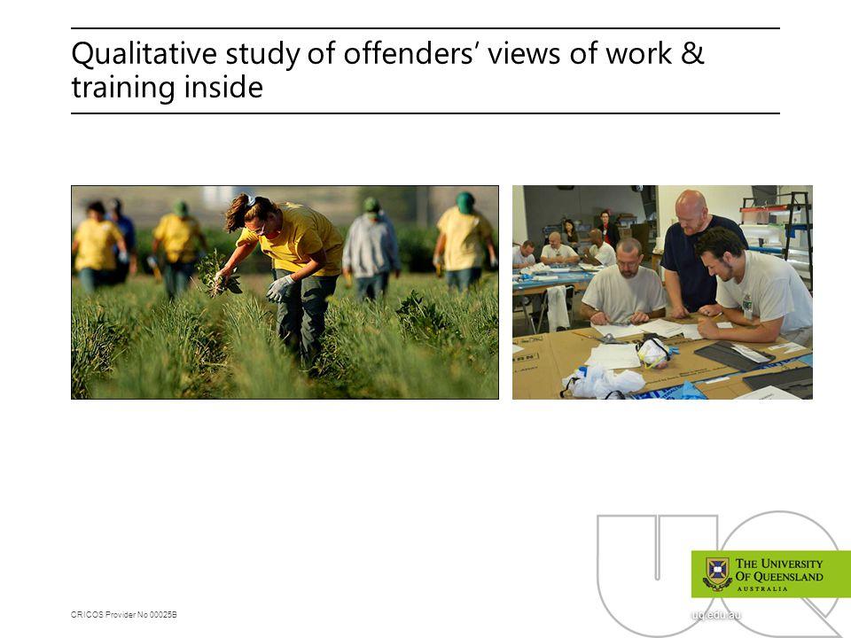 CRICOS Provider No 00025B uq.edu.au Qualitative study of offenders' views of work & training inside