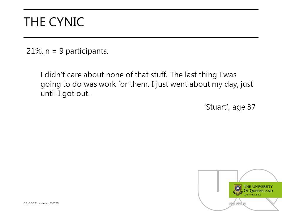 CRICOS Provider No 00025B uq.edu.au THE CYNIC 21%, n = 9 participants.
