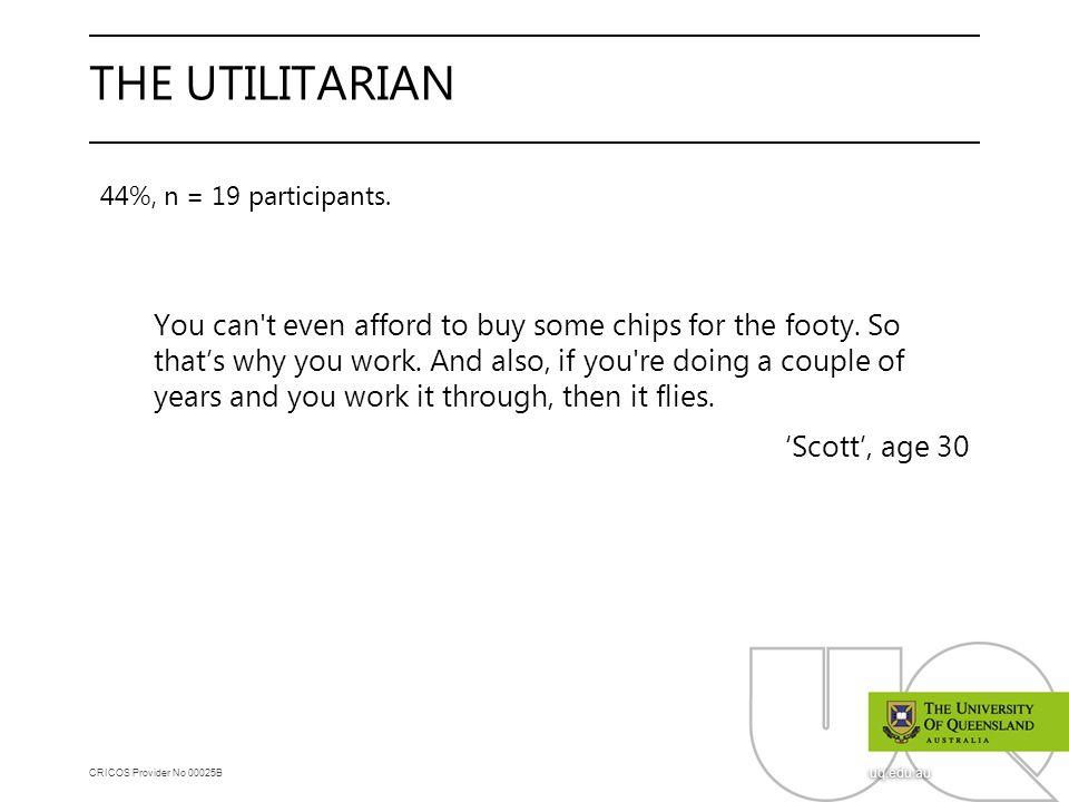 CRICOS Provider No 00025B uq.edu.au THE UTILITARIAN 44%, n = 19 participants.