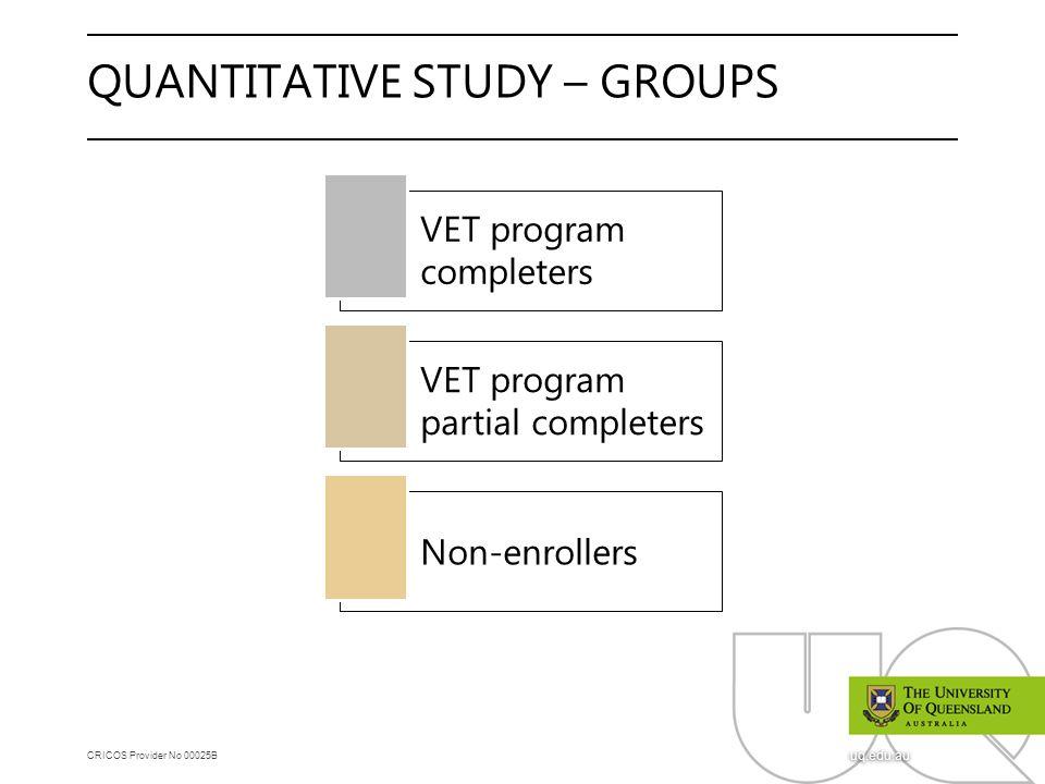 CRICOS Provider No 00025B uq.edu.au QUANTITATIVE STUDY – GROUPS VET program completers VET program partial completers Non-enrollers