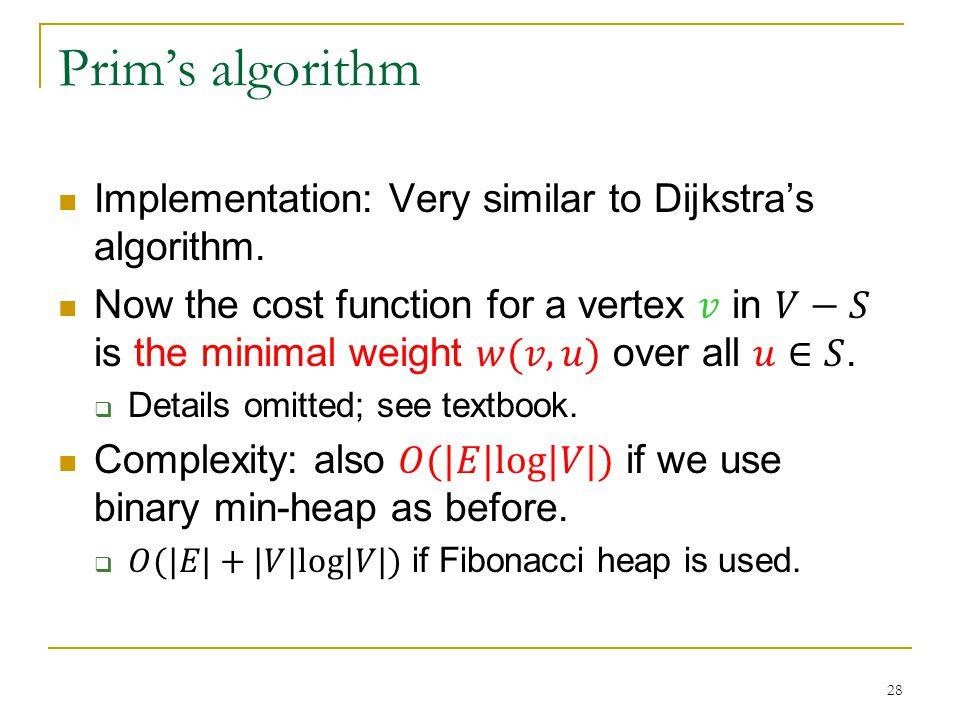 Prim's algorithm 28