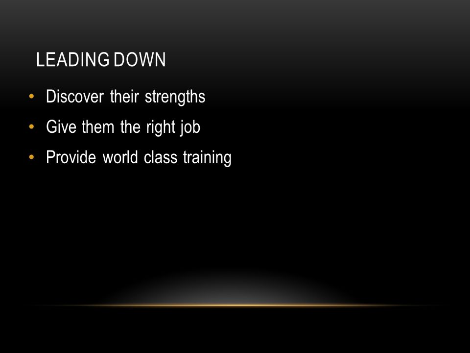 LEADING DOWN Discover their strengths Give them the right job Provide world class training