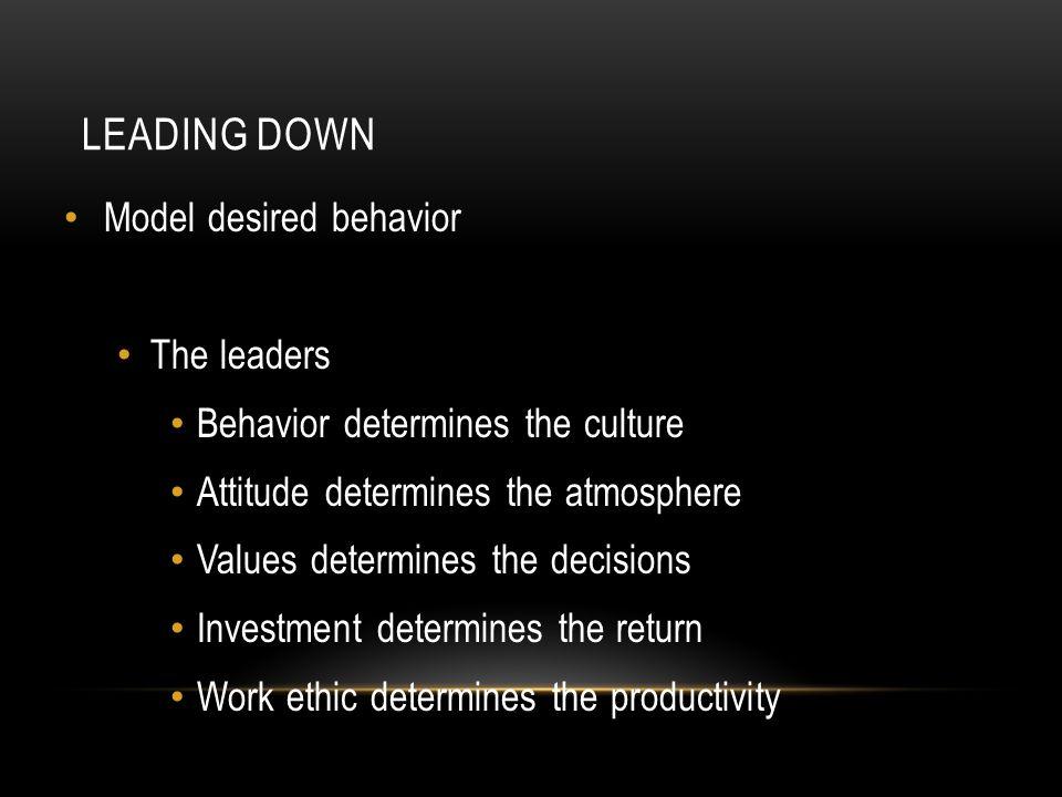 LEADING DOWN Model desired behavior The leaders Behavior determines the culture Attitude determines the atmosphere Values determines the decisions Inv