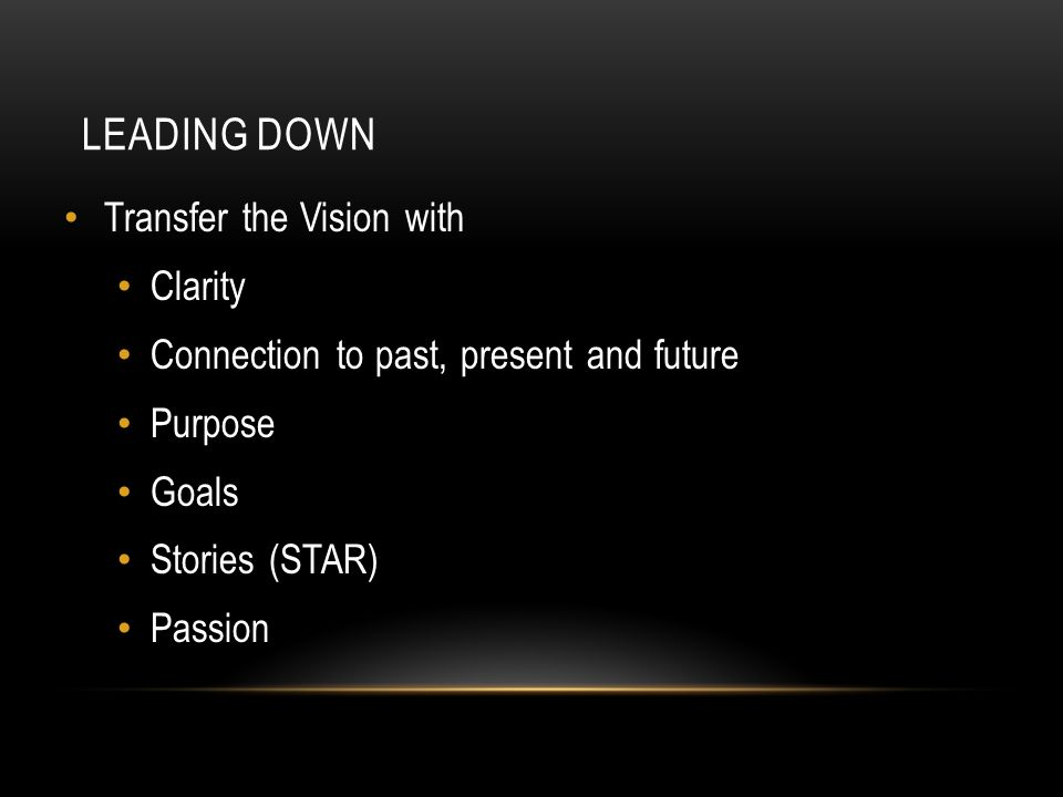 LEADING DOWN Transfer the Vision with Clarity Connection to past, present and future Purpose Goals Stories (STAR) Passion