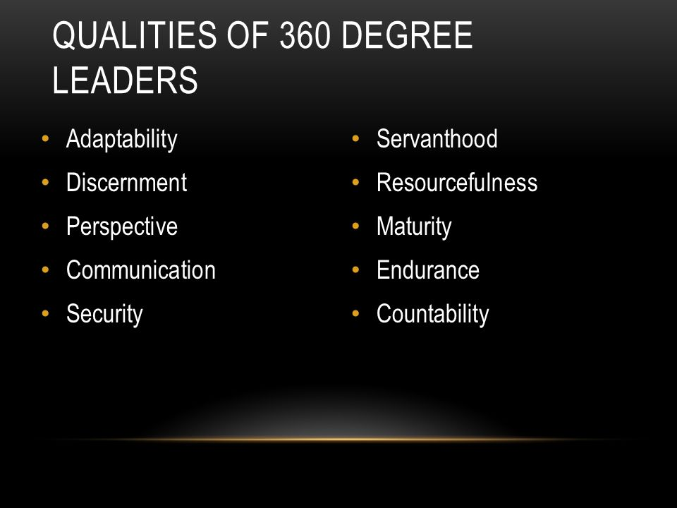QUALITIES OF 360 DEGREE LEADERS Adaptability Discernment Perspective Communication Security Servanthood Resourcefulness Maturity Endurance Countability