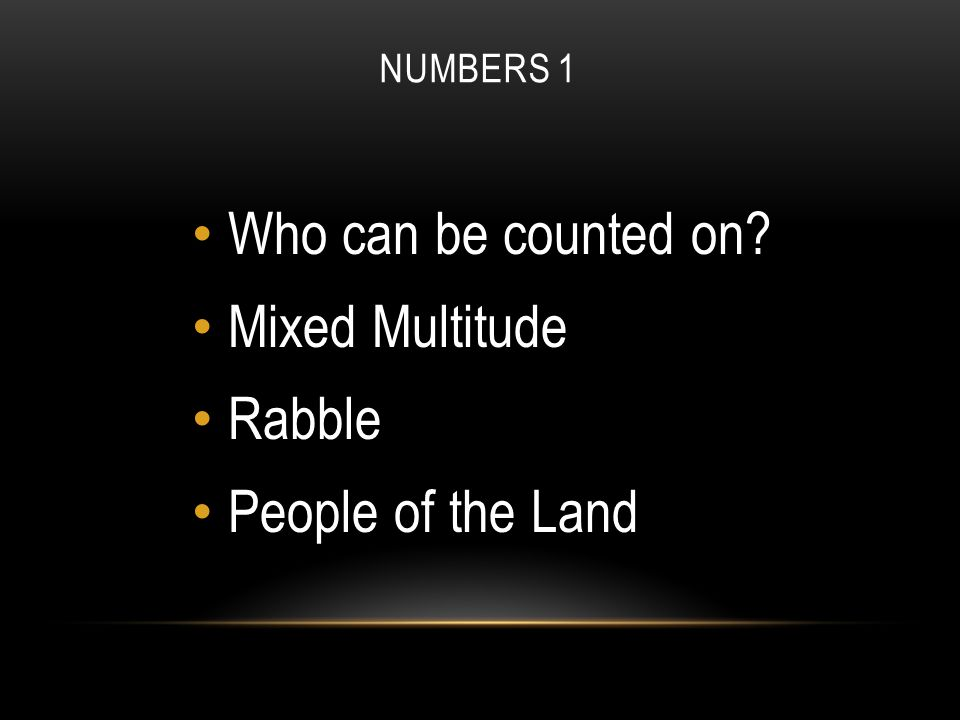 NUMBERS 1 Who can be counted on Mixed Multitude Rabble People of the Land