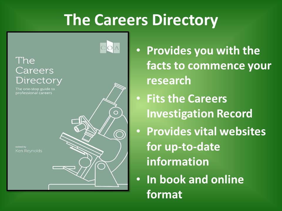 The Careers Directory Provides you with the facts to commence your research Fits the Careers Investigation Record Provides vital websites for up-to-date information In book and online format