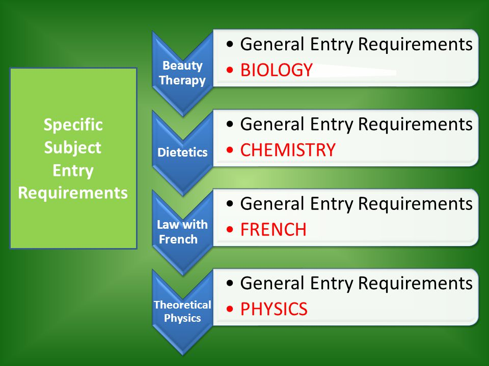 Specific Subject Entry Requirements
