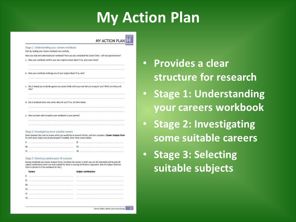 My Action Plan Provides a clear structure for research Stage 1: Understanding your careers workbook Stage 2: Investigating some suitable careers Stage 3: Selecting suitable subjects
