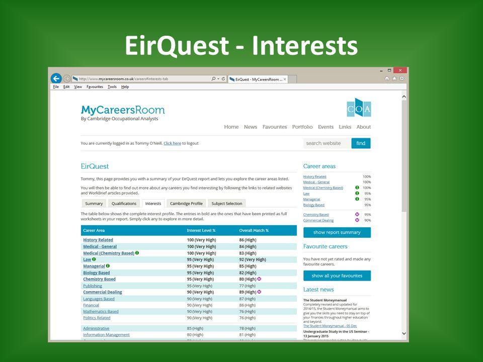 EirQuest - Interests