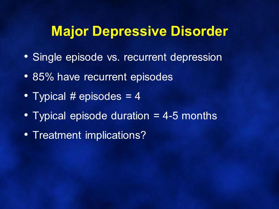 Major Depressive Disorder Single episode vs.