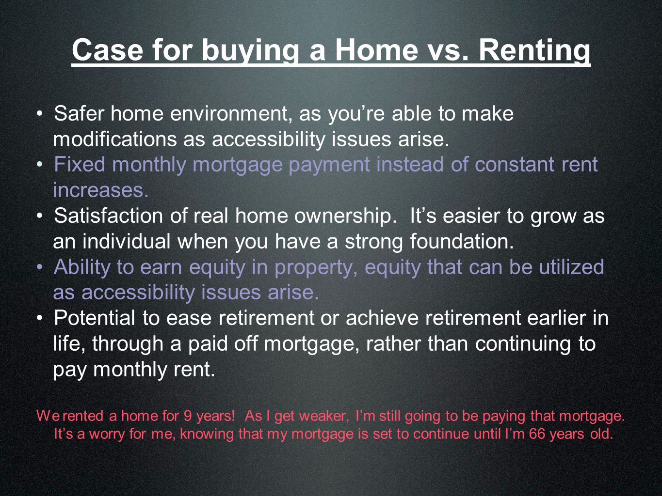 Case for buying a Home vs.