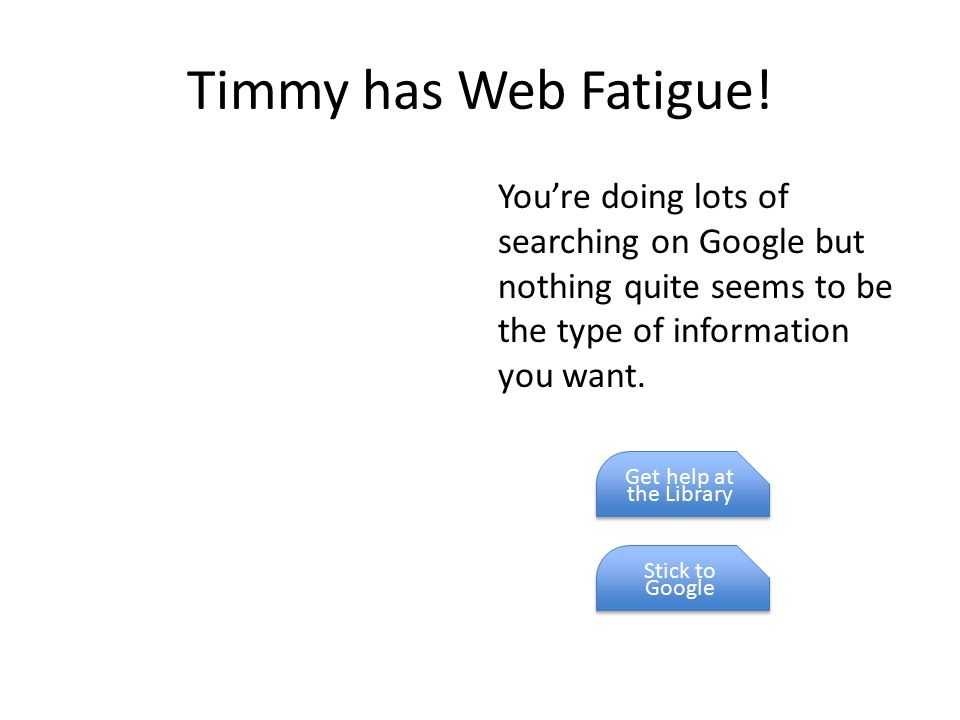 Timmy has Web Fatigue! You're doing lots of searching on Google but nothing quite seems to be the type of information you want. Get help at the Librar