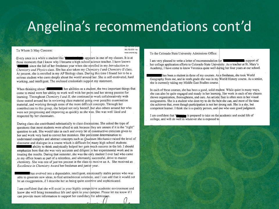 Angelina's recommendations cont'd