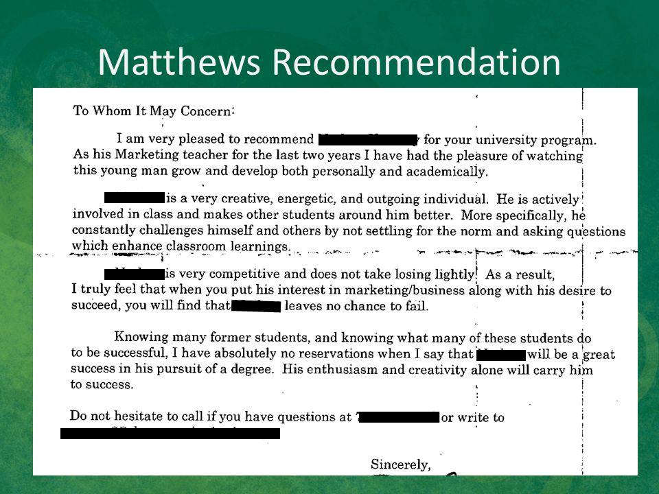 Matthews Recommendation