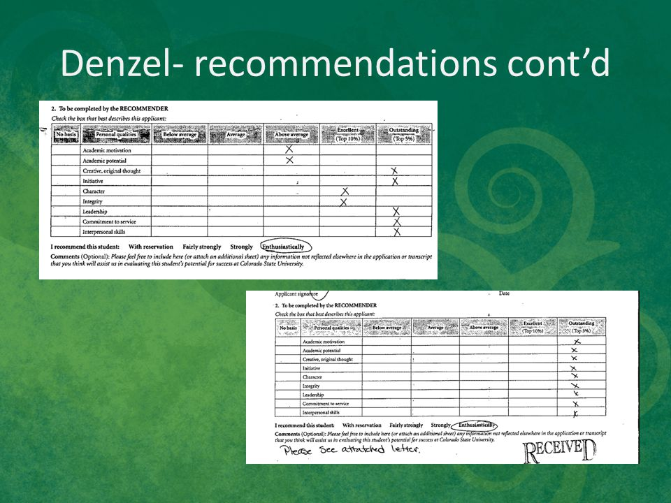 Denzel- recommendations cont'd