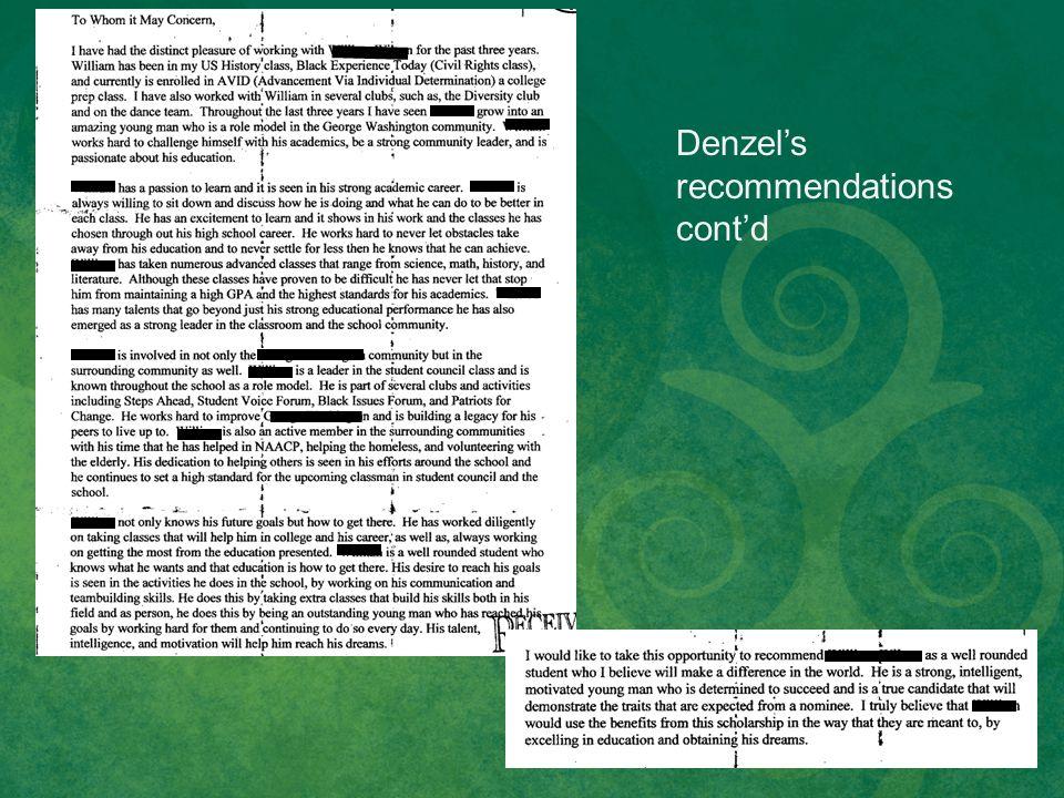 Denzel's recommendations cont'd